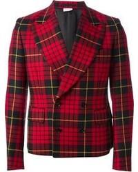 Blazer écossais rouge et noir