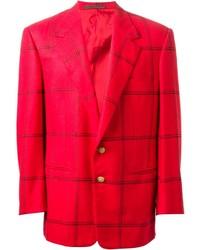 Blazer écossais rouge Versace