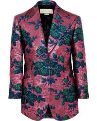 Blazer en brocart à fleurs fuchsia Gucci