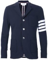 Blazer en coton à rayures horizontales bleu marine Thom Browne