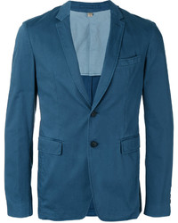 Blazer en coton bleu canard Burberry