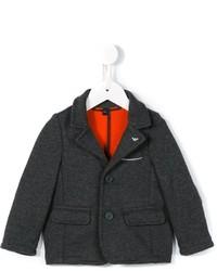 Blazer en coton en tricot gris foncé Armani Junior