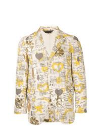 Blazer en coton imprimé beige Comme Des Garçons Vintage