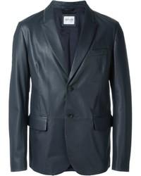 Blazer en cuir noir Armani Collezioni