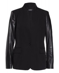 Blazer en cuir noir DKNY