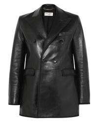 Blazer en cuir noir Saint Laurent