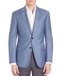 Blazer en laine à carreaux bleu clair