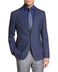 Blazer en laine à carreaux bleu marine