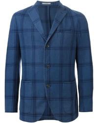 Blazer en laine à carreaux bleu