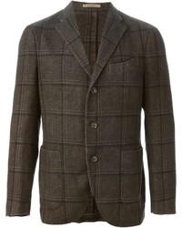 Blazer en laine à carreaux brun foncé