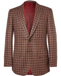 Blazer en laine à carreaux brun