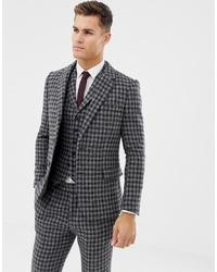 Blazer en laine à carreaux gris foncé ASOS DESIGN