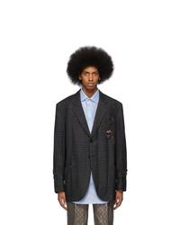 Blazer en laine à carreaux gris foncé Gucci