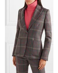 Blazer en laine à carreaux gris foncé Golden Goose Deluxe Brand