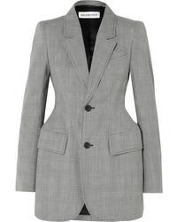Blazer en laine à carreaux gris Balenciaga