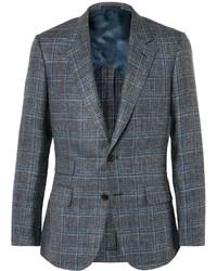 Blazer en laine à carreaux gris