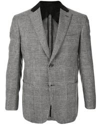 Blazer en laine à carreaux gris Brioni