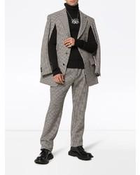 Blazer en laine à carreaux gris Gucci