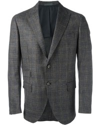 Blazer en laine à carreaux gris Eleventy