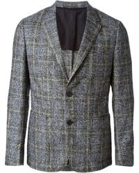Blazer en laine à carreaux gris Z Zegna