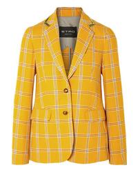 Blazer en laine à carreaux jaune Etro