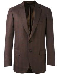 Blazer en laine à carreaux marron foncé Brioni