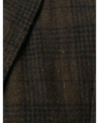 Blazer en laine à carreaux marron foncé Boglioli