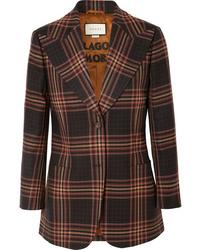 Blazer en laine à carreaux marron foncé Gucci