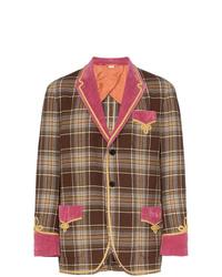 Blazer en laine à carreaux marron Gucci