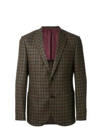 Blazer en laine à carreaux olive Fashion Clinic Timeless