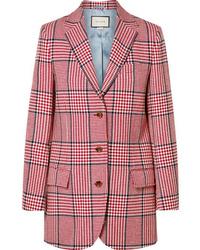 Blazer en laine à carreaux rose Gucci