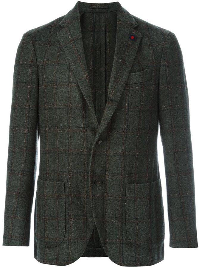 Blazer en laine à carreaux vert foncé Lardini