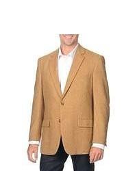 Blazer en laine à chevrons brun