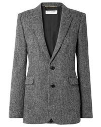 Blazer en laine à chevrons gris foncé Saint Laurent