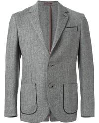 Blazer en laine à chevrons gris