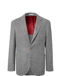 Blazer en laine à chevrons gris Brunello Cucinelli