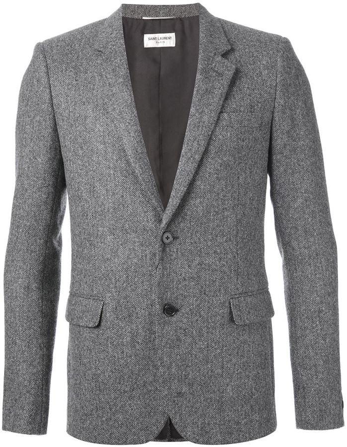 Blazer en laine à chevrons gris Saint Laurent