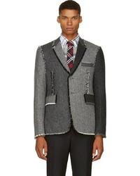 Blazer en laine à chevrons gris Thom Browne