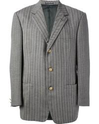 Blazer en laine à chevrons gris Versace