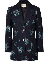Blazer en laine à fleurs bleu marine Gucci