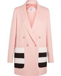 Blazer en laine à rayures horizontales rose Max Mara