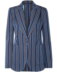 Blazer en laine à rayures verticales bleu marine Burberry