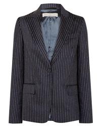 Blazer en laine à rayures verticales bleu marine Golden Goose Deluxe Brand