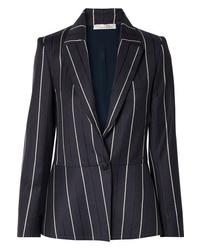 Blazer en laine à rayures verticales bleu marine Oscar de la Renta