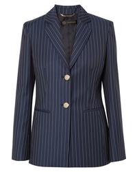 Blazer en laine à rayures verticales bleu marine Versace