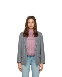 Blazer en laine à rayures verticales gris Isabel Marant Etoile