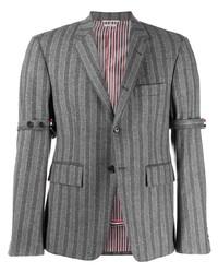 Blazer en laine à rayures verticales gris Thom Browne