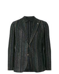 Blazer en laine à rayures verticales marron foncé Tagliatore