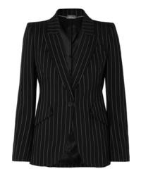 Blazer en laine à rayures verticales noir et blanc Alexander McQueen