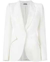 Blazer en laine blanc Alexander McQueen